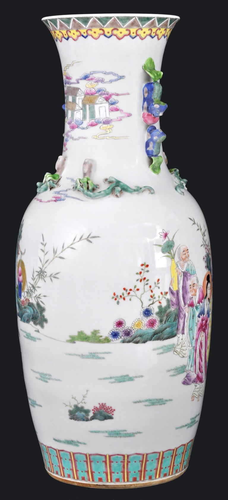 Monumental Pair of Antique Chinese Qing Dynasty Famille Rose Porcelain Vases For Sale 5