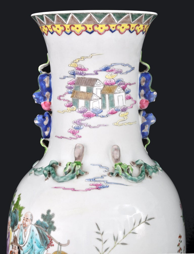 Monumental Pair of Antique Chinese Qing Dynasty Famille Rose Porcelain Vases For Sale 7
