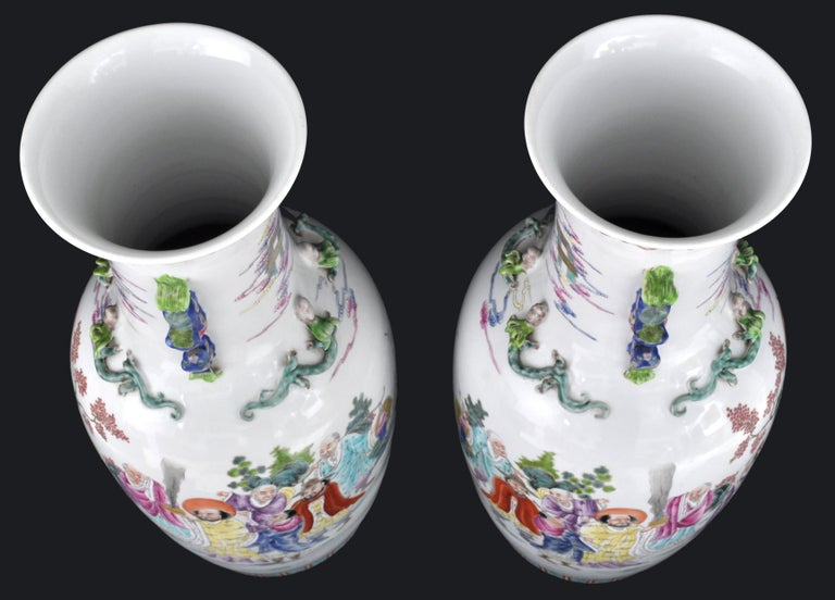 Monumental Pair of Antique Chinese Qing Dynasty Famille Rose Porcelain Vases For Sale 8