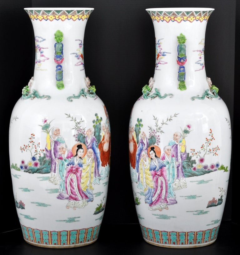 Monumental Pair of Antique Chinese Qing Dynasty Famille Rose Porcelain Vases In Good Condition For Sale In Portland, OR