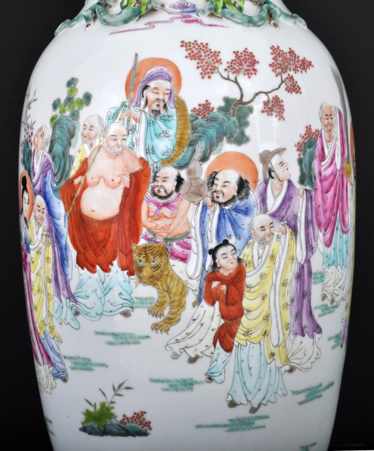 Monumental Pair of Antique Chinese Qing Dynasty Famille Rose Porcelain Vases For Sale 1