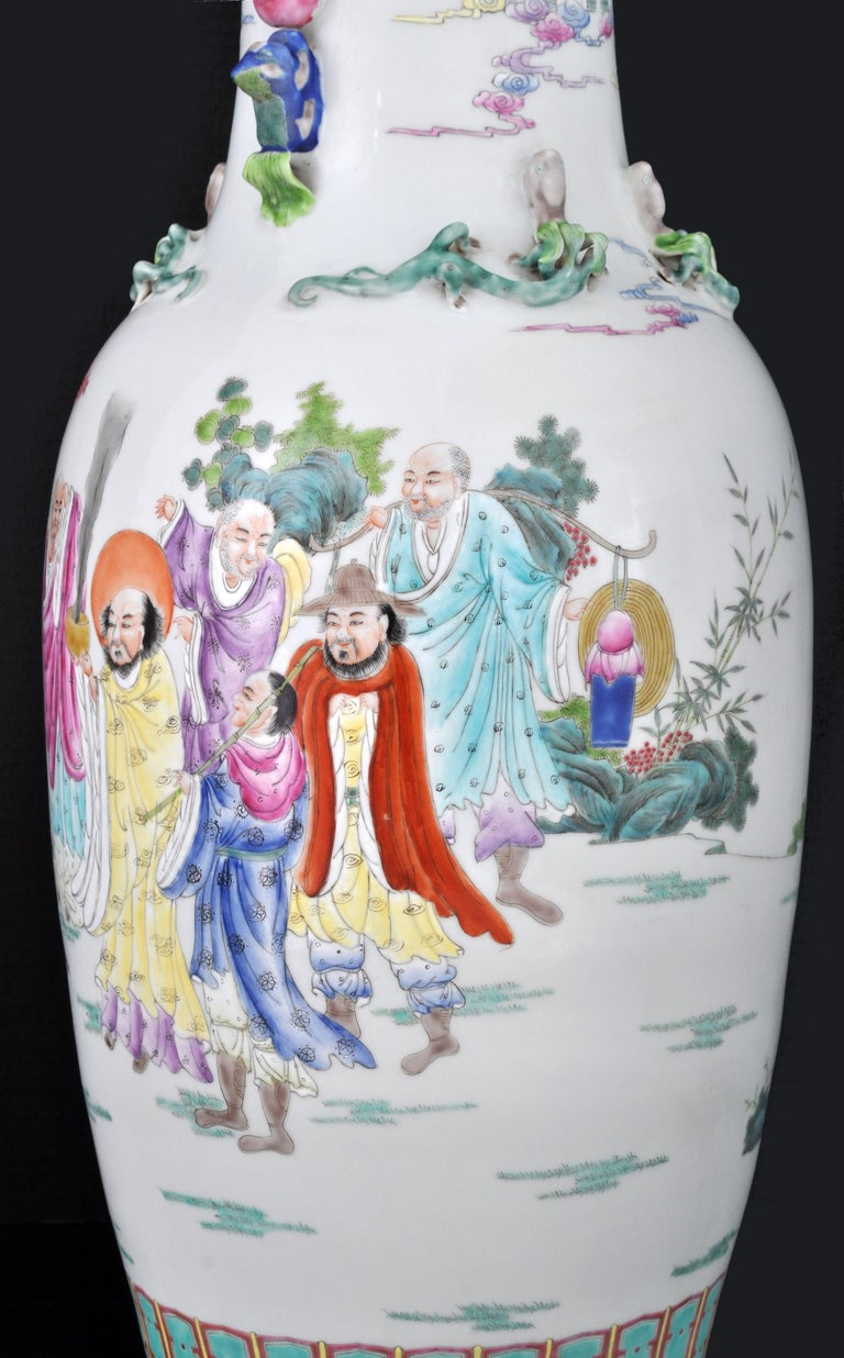 Monumental Pair of Antique Chinese Qing Dynasty Famille Rose Porcelain Vases For Sale 3