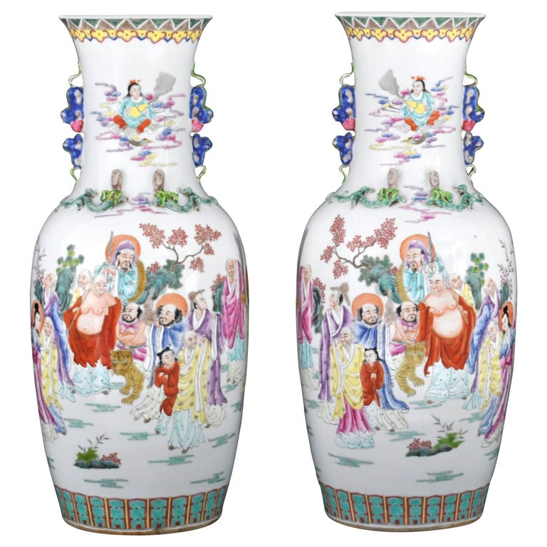 Monumental Pair of Antique Chinese Qing Dynasty Famille Rose Porcelain Vases For Sale