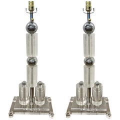 Monumental Pair of Architectural Lucite and Chrome Lamps