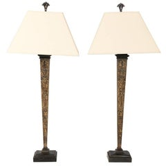 Monumental Pair of Baroque Architectural Obelisk Lamps
