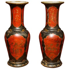 Monumental Pair of Berlin Faience Red and Black-Lacquered Vases