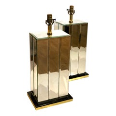 Monumental Pair of Beveled Mirror Lamps with Brass Edge