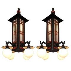 Monumental Pair of Early 20th Century French Chinoiserie Pagoda Lanterns