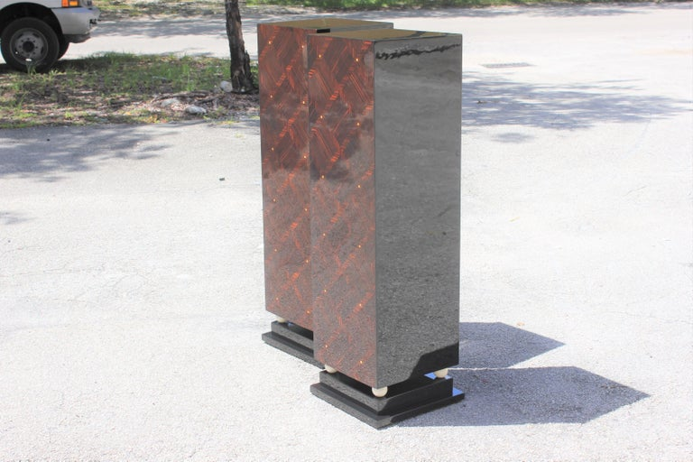 Monumental Pair of French Exotic Macassar Ebony Pedestals MOP Accents For Sale 5