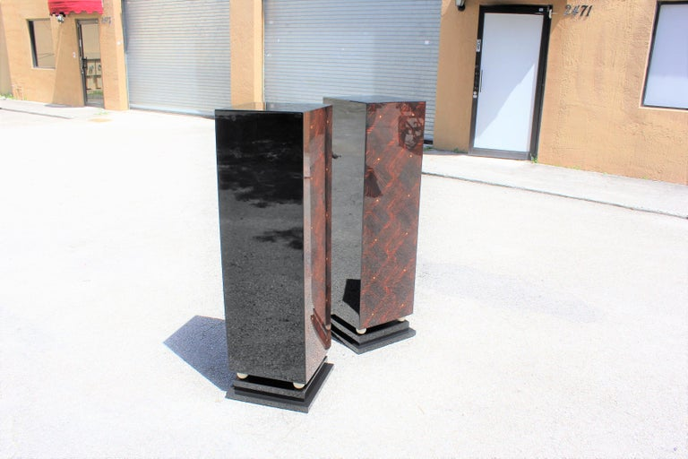 Monumental Pair of French Exotic Macassar Ebony Pedestals MOP Accents For Sale 7