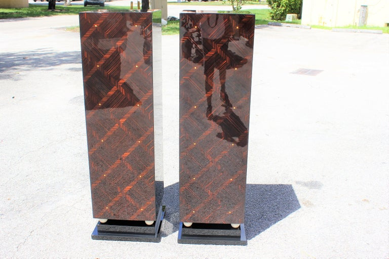 Art Deco Monumental Pair of French Exotic Macassar Ebony Pedestals MOP Accents For Sale