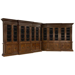 Monumental Pair of French Carved Walnut Biblioteques