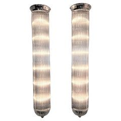 Monumental Pair of French Modernist Long Tubular Sconces by Petitot