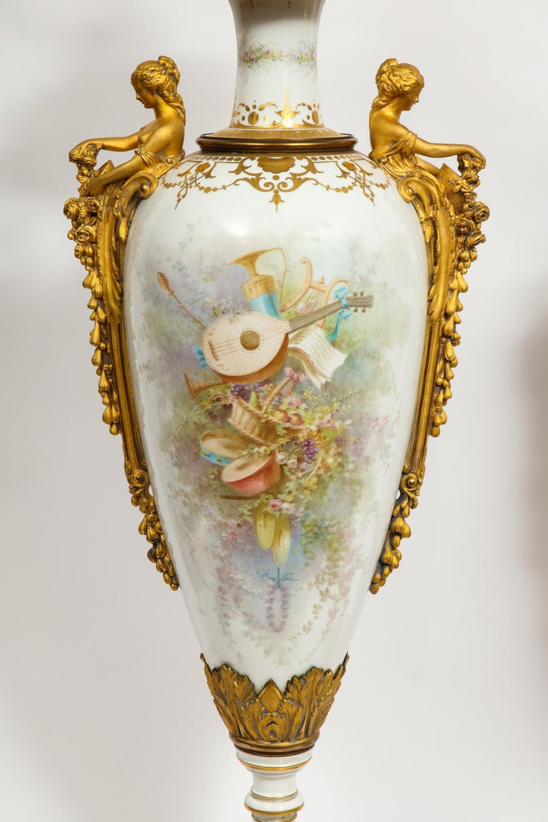 Monumental Pair of French Ormolu-Mounted White Sèvres Porcelain Vases and Covers For Sale 7