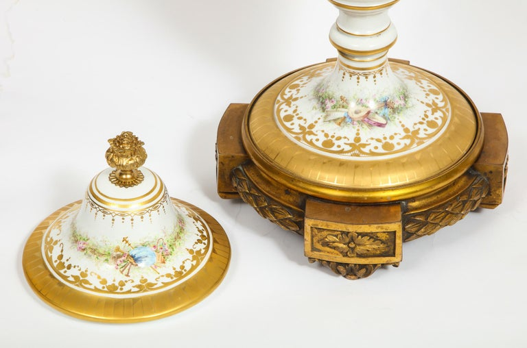 Monumental Pair of French Ormolu-Mounted White Sèvres Porcelain Vases and Covers For Sale 10