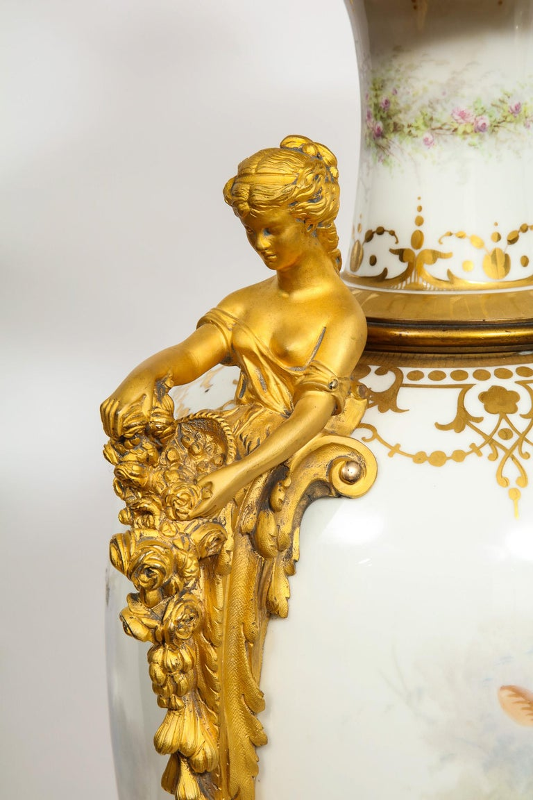 Monumental Pair of French Ormolu-Mounted White Sèvres Porcelain Vases and Covers For Sale 13