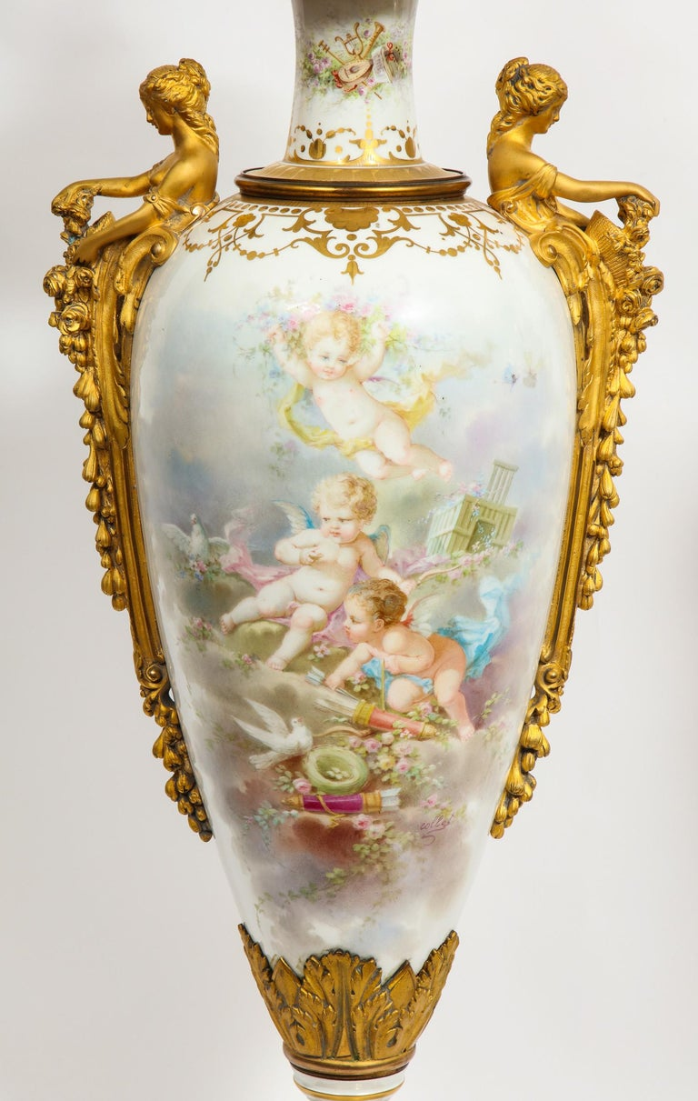 Napoleon III Monumental Pair of French Ormolu-Mounted White Sèvres Porcelain Vases and Covers For Sale