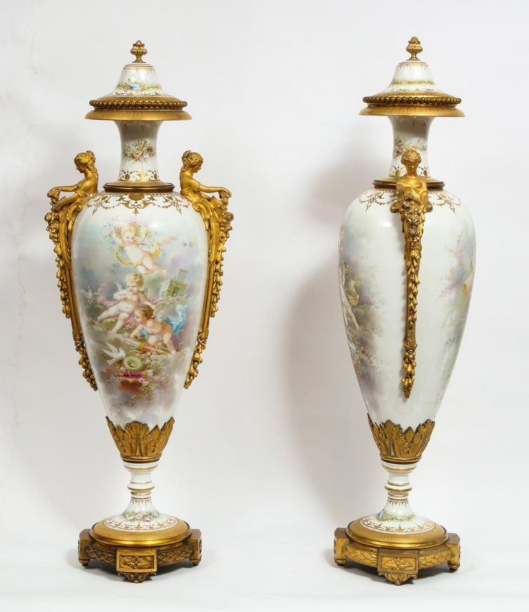 Monumental Pair of French Ormolu-Mounted White Sèvres Porcelain Vases and Covers For Sale 3