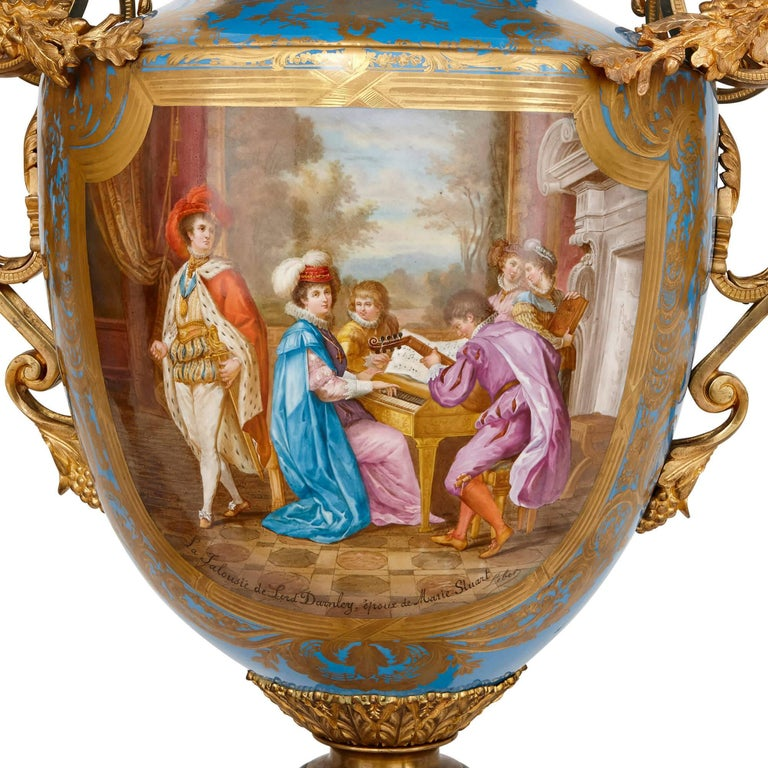 French Monumental Pair of Gilt Bronze-Mounted Sevres Style Porcelain Vases For Sale