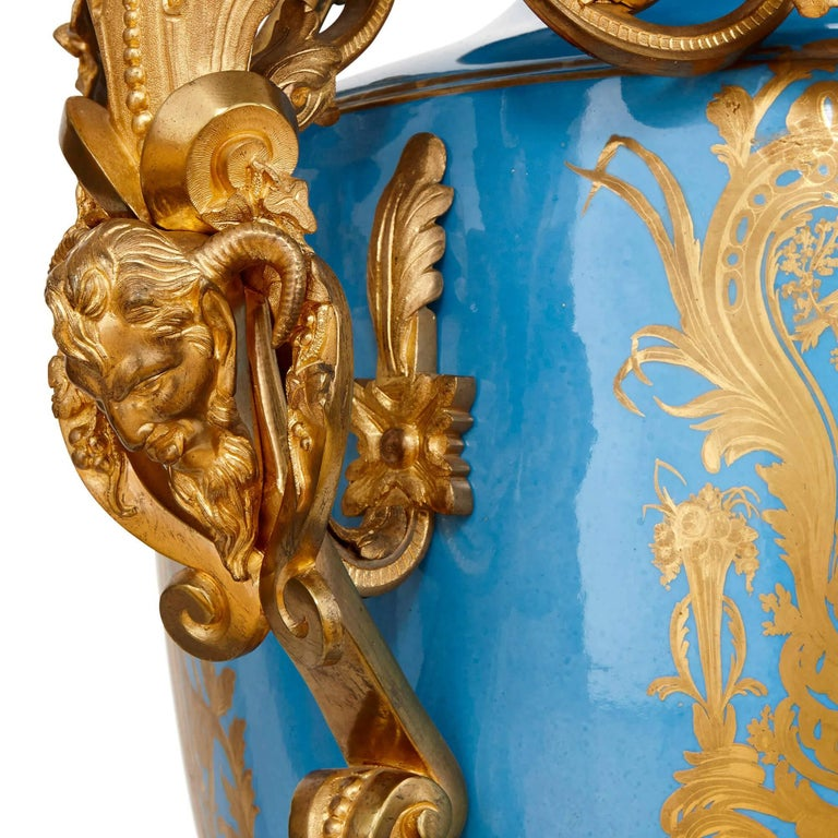 19th Century Monumental Pair of Gilt Bronze-Mounted Sevres Style Porcelain Vases For Sale