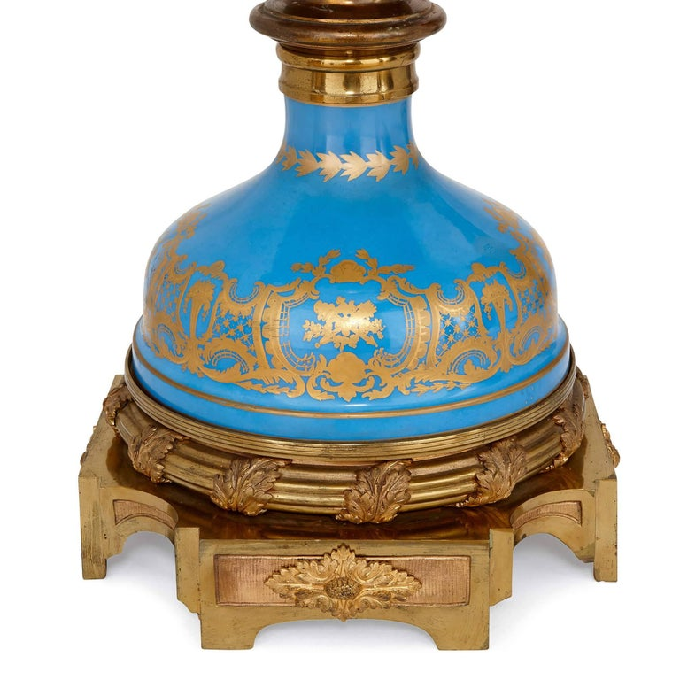 Ormolu Monumental Pair of Gilt Bronze-Mounted Sevres Style Porcelain Vases For Sale