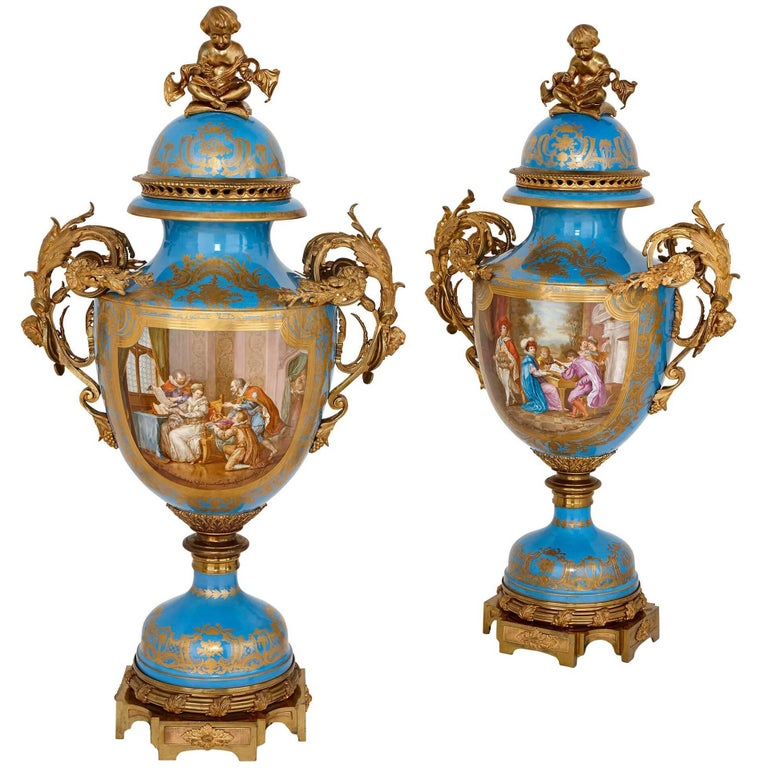 Monumental Pair of Gilt Bronze-Mounted Sevres Style Porcelain Vases For Sale