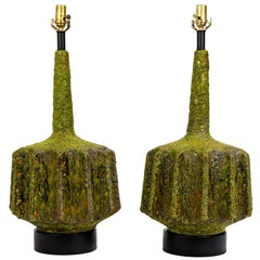 Monumental Pair of Green Lava Glaze Lamps by Volcano Fantoni