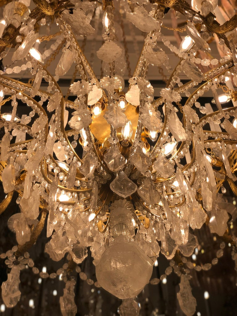 Monumental Pair of Hand-Carved Rock Crystal, Bronze and Ormolu Chandeliers For Sale 11