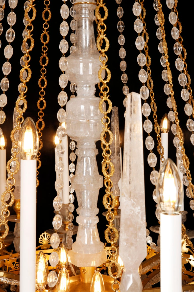 Monumental Pair of Hand-Carved Rock Crystal, Bronze and Ormolu Chandeliers In New Condition For Sale In London, GB