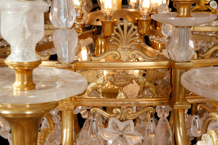 Monumental Pair of Hand-Carved Rock Crystal, Bronze and Ormolu Chandeliers For Sale 2