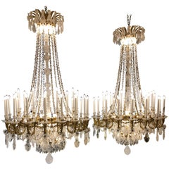 Monumental Pair of Hand Carved Rock Crystal, Bronze and Ormolu Chandeliers