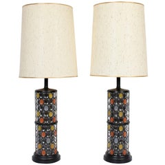 Monumental Pair of Higgins Style Fused Glass & Black Enamel Table Lamps, 1950s