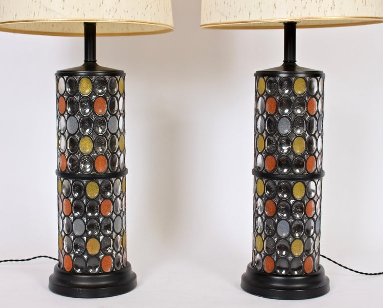 Mid-Century Modern Monumental Pair of Higgins Style Glass & Enamel Illuminating Table Lamps, 1950s For Sale