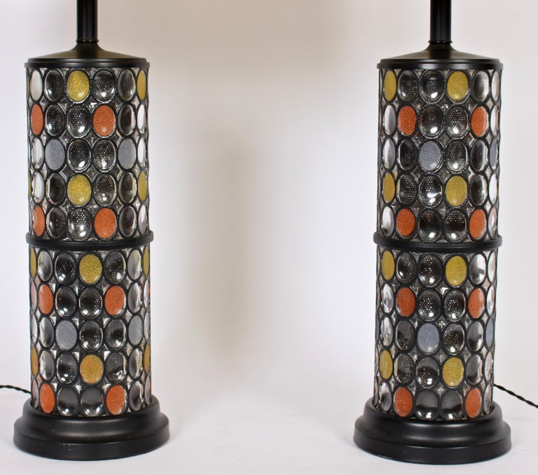 American Monumental Pair of Higgins Style Glass & Enamel Illuminating Table Lamps, 1950s For Sale