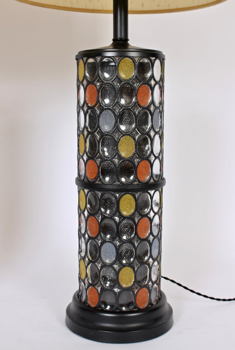 Enameled Monumental Pair of Higgins Style Glass & Enamel Illuminating Table Lamps, 1950s For Sale