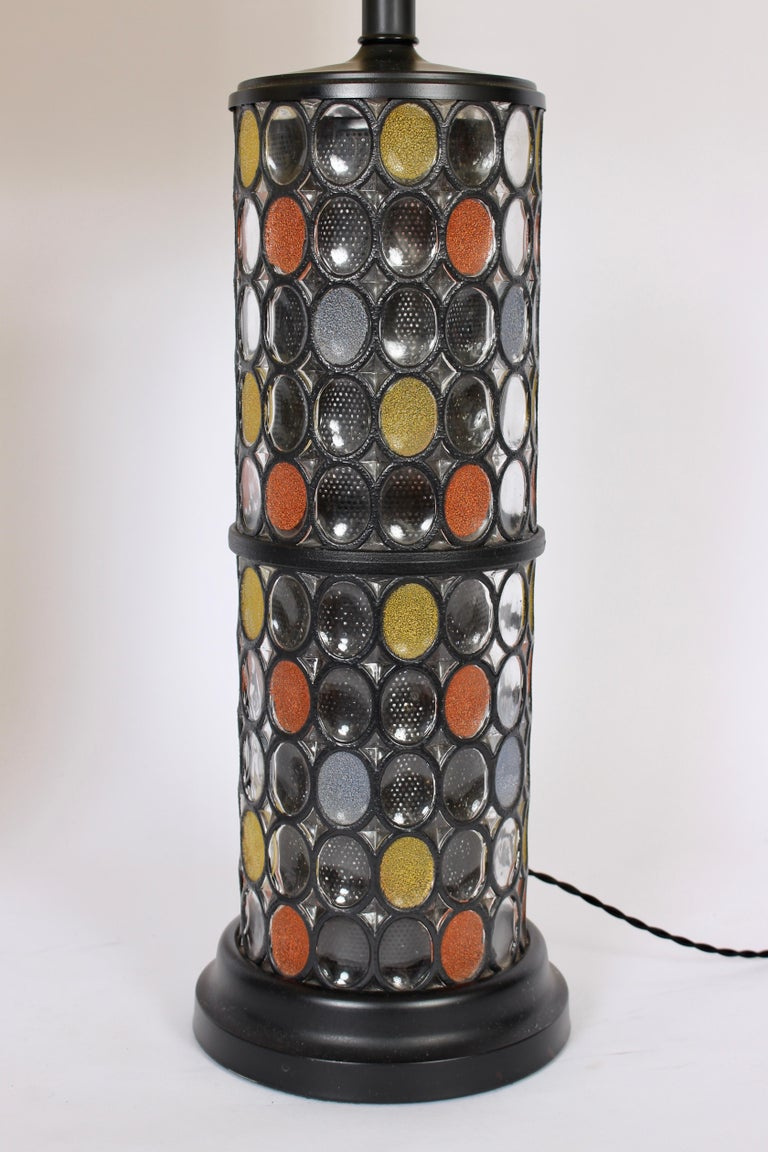 Monumental Pair of Higgins Style Glass & Enamel Illuminating Table Lamps, 1950s In Good Condition For Sale In Bainbridge, NY