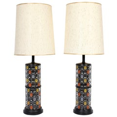 Monumental Pair of Higgins Style Glass & Enamel Illuminating Table Lamps, 1950s