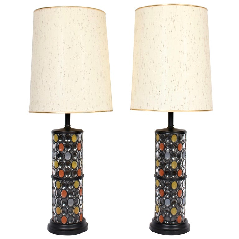 Monumental Pair of Higgins Style Glass & Enamel Illuminating Table Lamps, 1950s For Sale