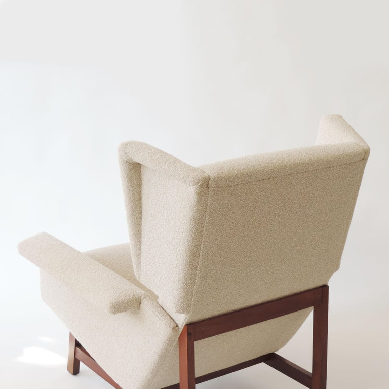 Monumental pair of Italian 1960s lounge chairs in the style of Gianfranco Frattini.