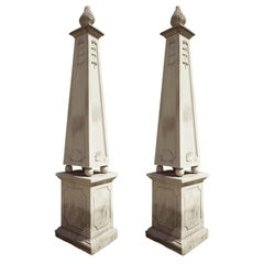 Monumental Pair of Italian Carved Stone Obelisks