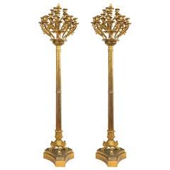 Monumental Pair of Italian Empire Gilt Bronze Candleholders or Floor Lamps, 1800