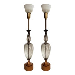 Monumental Pair of Italian Grey Glass Lamps