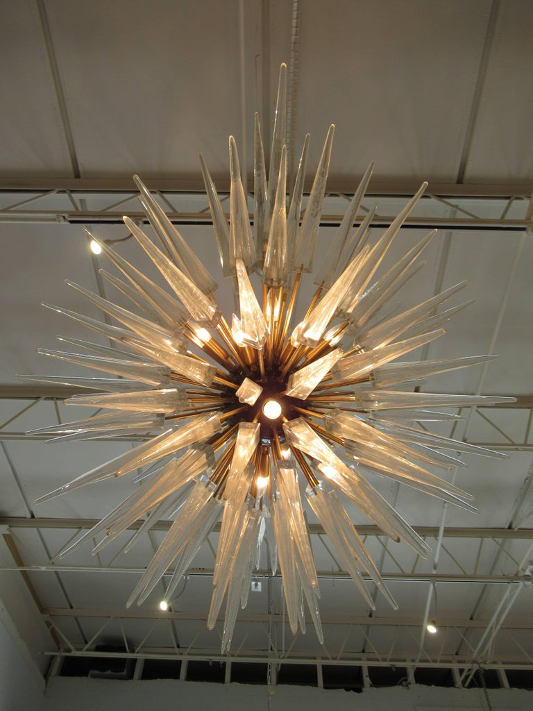 Blown Glass Monumental Pair of Italian Modern Brass, Enameled, and Glass Chandeliers, Murano For Sale