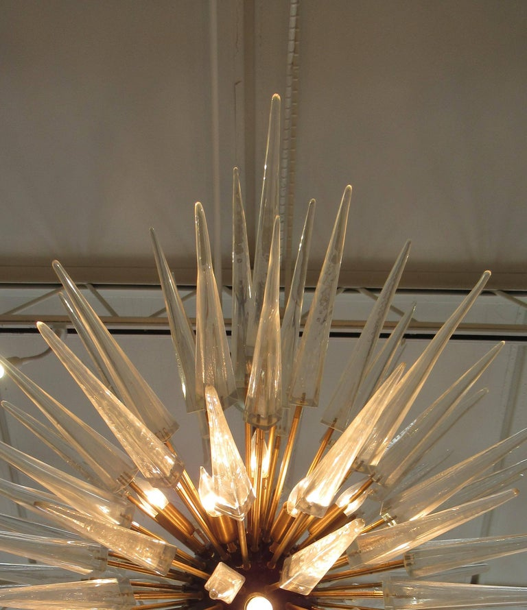 Monumental Pair of Italian Modern Brass, Enameled, and Glass Chandeliers, Murano For Sale 1