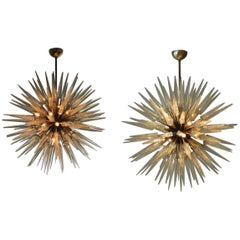 Monumental Pair of Italian Modern Brass, Enameled, and Glass Chandeliers, Murano