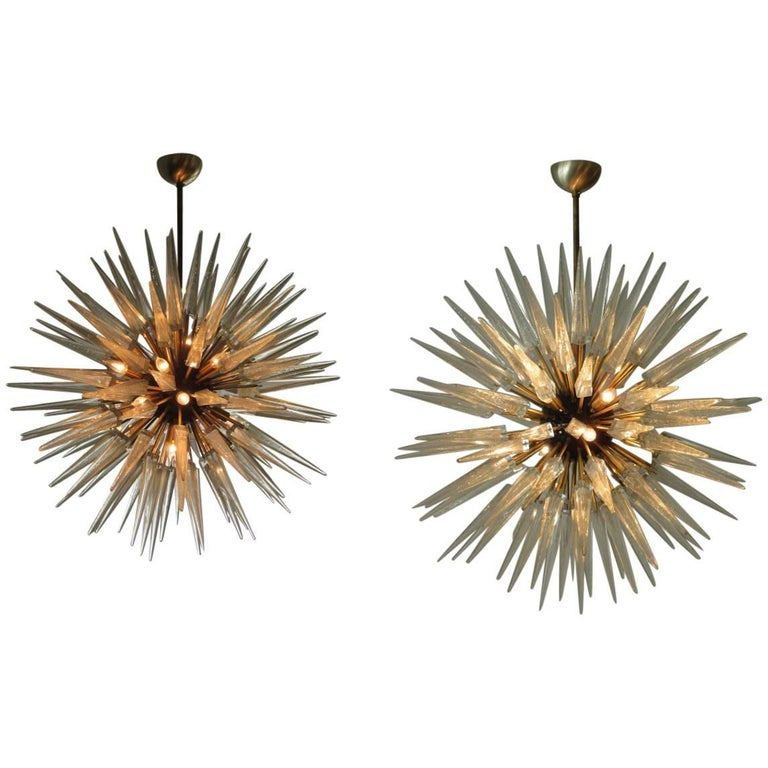 Monumental Pair of Italian Modern Brass, Enameled, and Glass Chandeliers, Murano For Sale