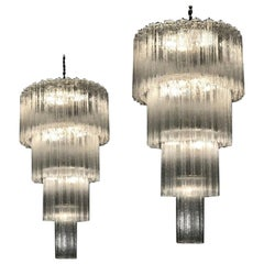 Monumental Pair of Italian Murano Glass Tronchi Chandeliers