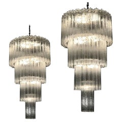 Monumental Pair of Italian Murano Glass Tronchi Chandeliers