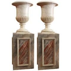 Monumental Pair of Italian Neoclassical Carrara Marble Urn Vases on Pedestals
