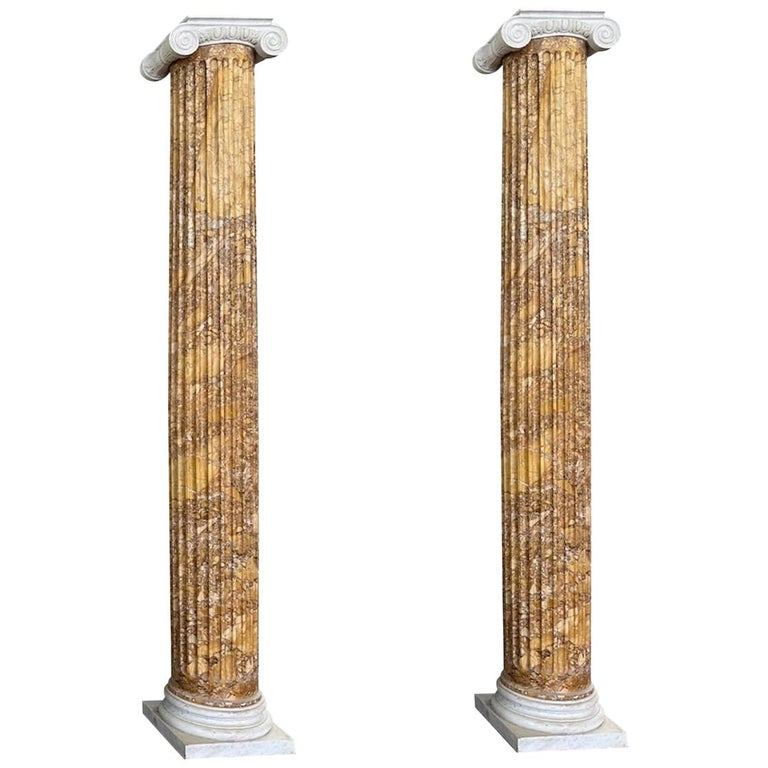 Monumental Pair of Italian Neoclassical Doric Marble Columns For Sale